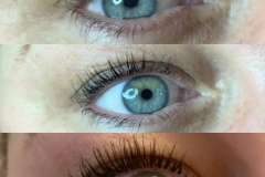 Top to bottom: Before LVL Lashes, after LVL Lashes & with mascara