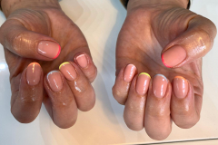 French manicure with multi pastel tips.