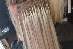 U-Tip-Hair-Extensions-by-Jenny. 22/24 inch. During. Creating the perfect blend of blondes.