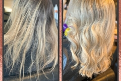 Before & After full head of micro lights, Olaplex added & infuse my colour back wash toner in Platinum to create these cool tones Master Stylist Jenny Finn