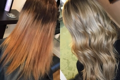 Colour Correction - From a blocky brassy colour to a soft cool Balayage by Imogen Barnes